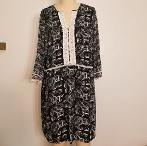 Merona Black and White Boho Elephant Dress